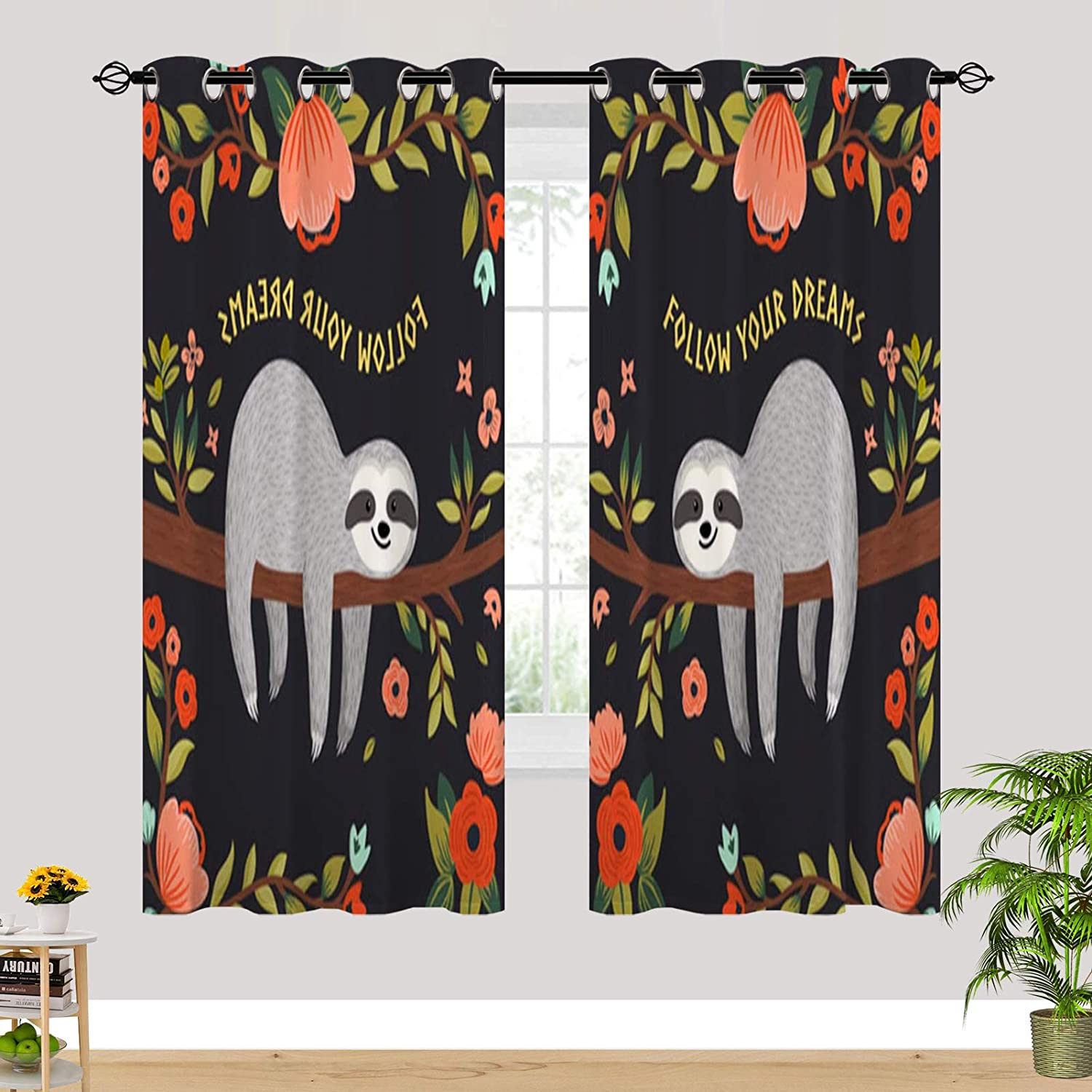 San Jose Mall ANHOPE Sloth Curtains for Girl Bedroom Dreams Japan's largest assortment Your Follow Cute