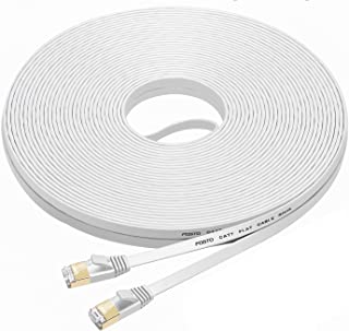 FOSTO Cat7 Ethernet Cable 100 ft,cat 7 Patch Cable Flat RJ45 High Speed 10 Gigabit LAN Internet Network Cable for Xbox,PS4,Modem,Router,Switch,PC,TV Box (100Feet, White)