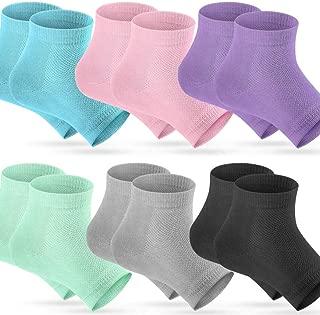Selizo 6 Pairs Heel Moisturizing Socks Open Toe Socks Cracked Gel Heel Socks Foot Toeless Cooling Heel Repair Socks for Women Dry Hard Cracked Feet, 6 Colors