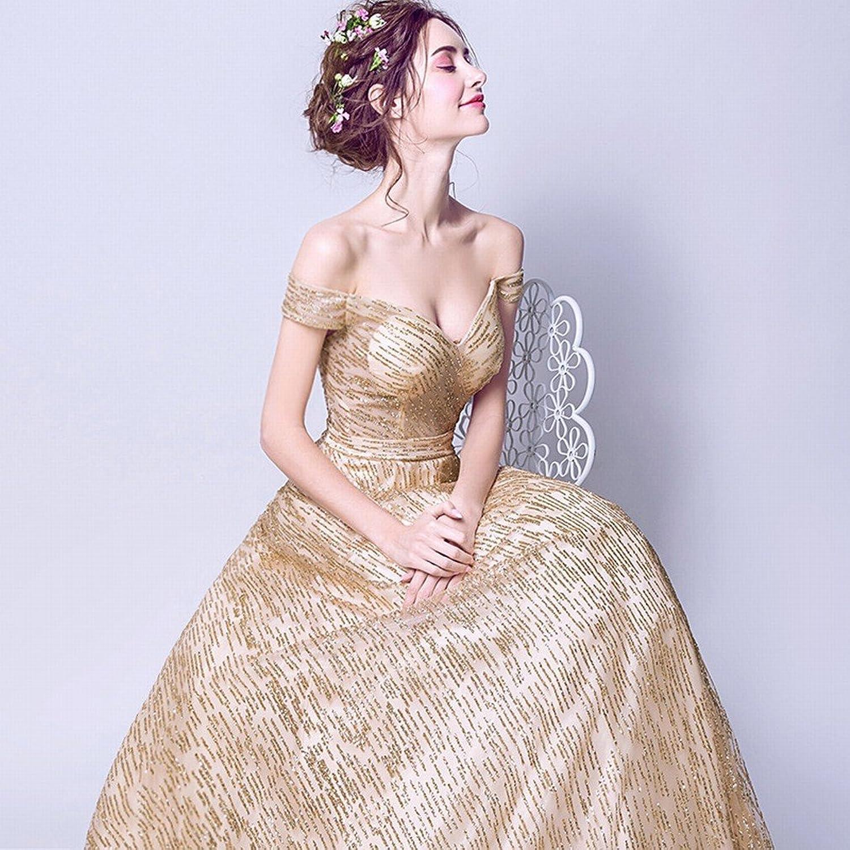 DIDIDD Star Fantasy Modern Gorgeous golden Bride Wedding Dress Dinner