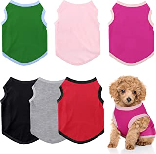 6 Pieces Dog Shirts Pet Puppy Blank Clothes Breathable Dog Plain Shirts Soft Puppy T-Shirts Clothes Outfit for Dogs Cats P...