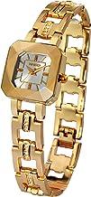 Time100 レディース腕時計 多面体ガラス 日本製クオーツ スケルトン ダイヤモンド付きバンド ブレスレット式 30M防水 女の腕時計W80023L.03A (ゴールド)