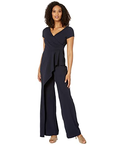 Adrianna Papell Crepe Cascading Jumpsuit (Midnight) Women