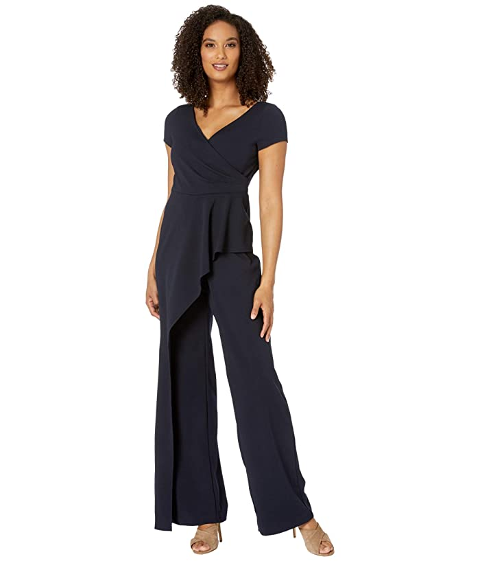 Adrianna Papell  Crepe Cascading Jumpsuit (Midnight) Womens Jumpsuit and Rompers One Piece