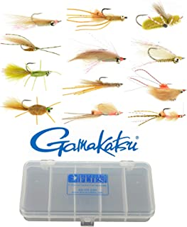 Discountflies Bonefish & Permit Flats Fly Collection 12 Flies + Fly Box