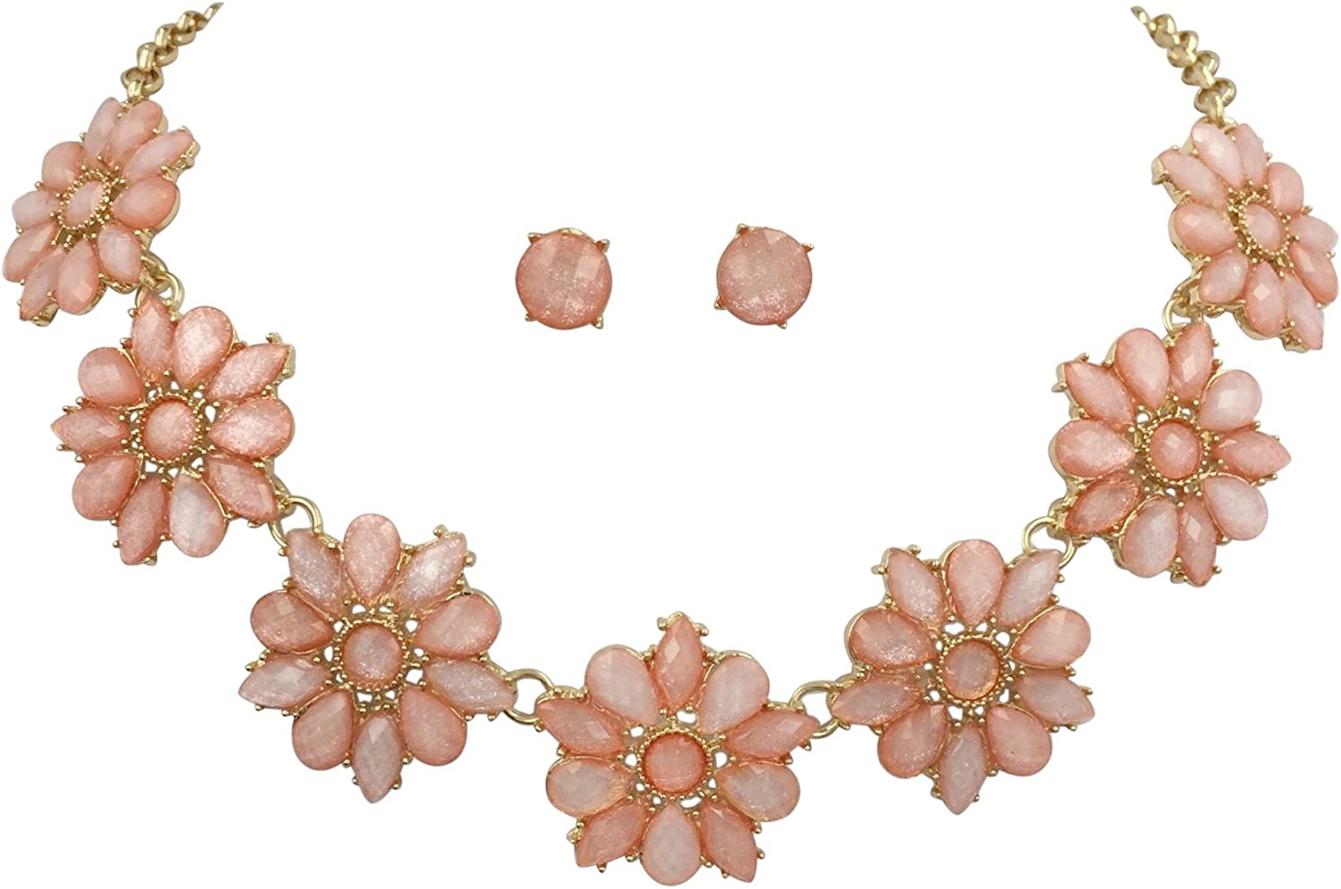 Gypsy Jewels Daisy Dot Flower Cluster Bubble Gold Tone Boutique Statement Necklace & Earrings Set