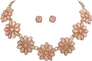 Daisy Dot Flower Cluster Bubble Gold Tone Boutique Statement Necklace & Earrings Set