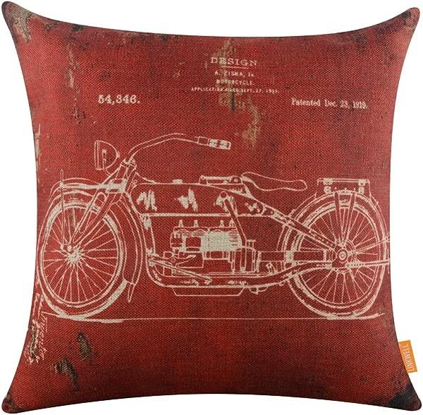 林可威尔法令》个法令》复古暗红色的摩托车经典麻布靠垫套枕头套 CC1099
