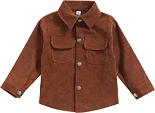 Toddler Baby Boy Corduroy Fall Jacket Coat Causal Solid Long Sleeve Button Down Shirts Blouse...