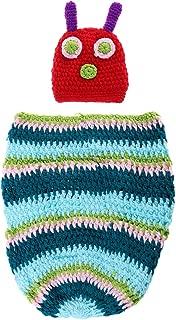 Foxnovo Baby Photograph Props Baby Infant Newborn Handmade Crochet Beanie Hat Clothes (Blue)