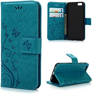 iPhone 7 Plus Case,iPhone 7 PLUS Wallet Case,LW-Shop for iPhone 7 PLUS PU Leather Case [Built-in Credit Card Slots] Magnetic Design Flip Folio Leather Cover Case with Flower Butterfly Pattern(Blue)