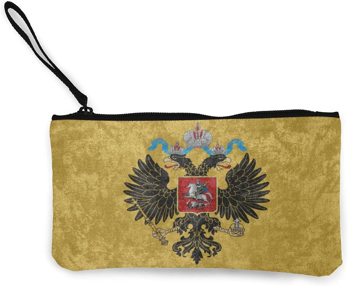 Vintage Russian Empire Flag Multifunction Travel Toiletry Pouch Small Canvas Coin Wallet Bag Zipper