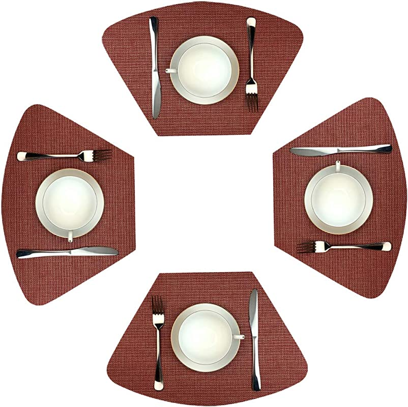 WAZAIGUR Wedge Placemats For Round Table Set Of 4 Woven Vinyl Washable Placemat For Dining Table Heat Resistant Durablity Table Mats Wine Red