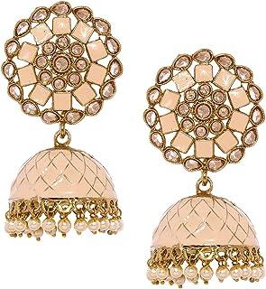ZAVERI PEARLS Beautifully Enamelled Traditional Metal Gold Plated Jhumki Earring For Women-ZPFK9134