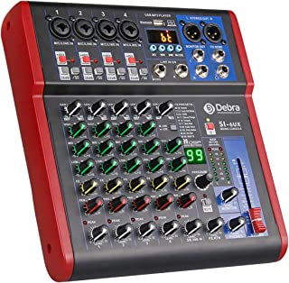 高音質! D Debra AudioProポータブルレコーディングミキサーオーディオ(USB 99 DSPデジタルエフェクト付き)DJミキサーコンソール用カラオケレコーディングスタジオ (SI-6UX (6 Channel))