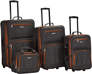 Journey Softside Upright Luggage Set, Charcoal, 4-Piece...