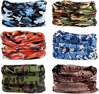 6PCS Outdoor Magic Headband Elastic Seamless Bandana Scarf UV Resistence Sport Headwear Boho Series for Yoga Hiking Riding Motorcycling