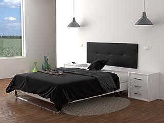 LA WEB DEL COLCHON Cabecero de Cama tapizado Acolchado Julie 160 x 55 cms. para Camas de 135, 140, 150 y 160 cms. Polipiel Color Negro.