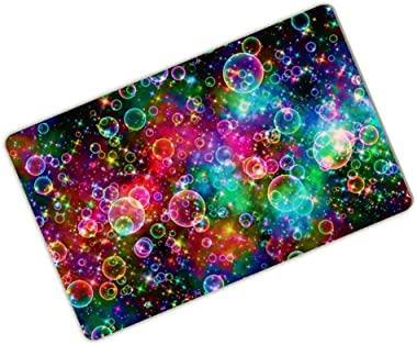 """Bathroom Doormat Colorful Bubbles Beautiful Rainbow Abstract Personalized Durable Machine-Washable Mat 23.6""""(L) x 15.7""""(W)"""
