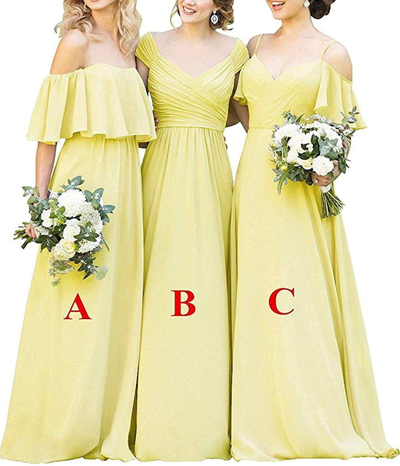 RTTUTED Women's A Line Bridesmaid Dresses Long Wedding Party Prom Evening Gowns
