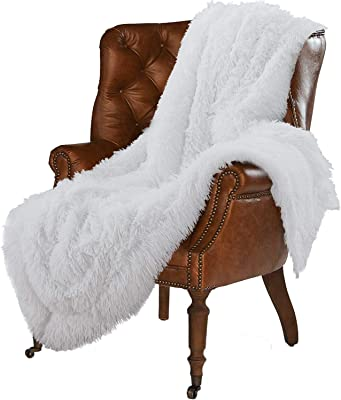 """LOCHAS Super Soft Shaggy Faux Fur Blanket, Plush Fuzzy Bed Throw Decorative Washable Cozy Sherpa Fluffy Blankets for Couch Chair Sofa (Pure White 50"""" x 60"""")"""