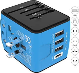 Jollyfit International Universal Travel Adapter Type-C and 3 USB 2.4A Charger AC Power Wall Plug US UK AU EU Worldwide 150 Countries with Safe Fuse for Europe Asia Germany France Italy India China Russia American British European Adapter (Blue Type-C and 3 USB Ports)