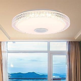 ALLOMN Lámpara de Techo LED , Smart Bluetooth Music Lámpara de Techo Regulable RGBW Luz que Cambia de Color con Altavoz Bluetooth APPControl Remoto, Brillo Ajustable