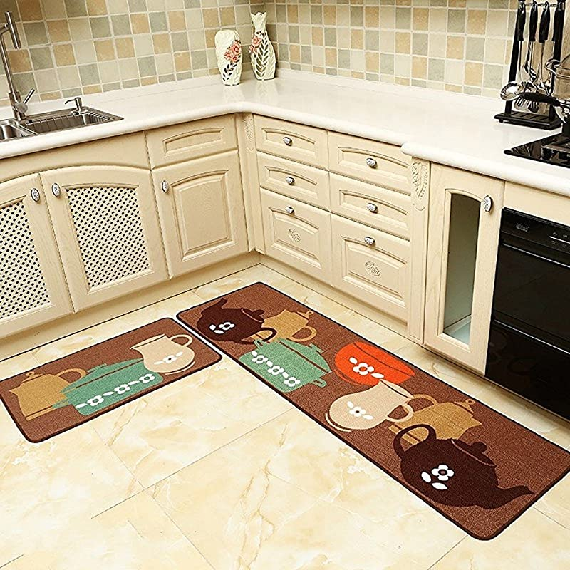 EUCH Home And Kitchen Mat Rugs 4 Size 2 Pieces Decorative Non Slip Rubber Backing Doormat Runner Area Mats Sets 20 31 20 59 Pots