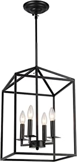 Cage Pendant Light Four-Light Hall Candle-Style Chandelier Ceiling Light Fixture for Hallway Dinning Room Kitchen Bar Rest...