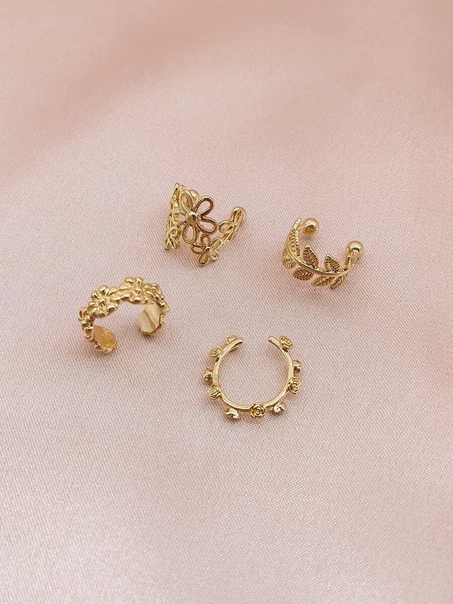 ZHCHL Hoop Earrings 4pcs Hollow Out Flower Design Ear Cuff (Color : Gold)