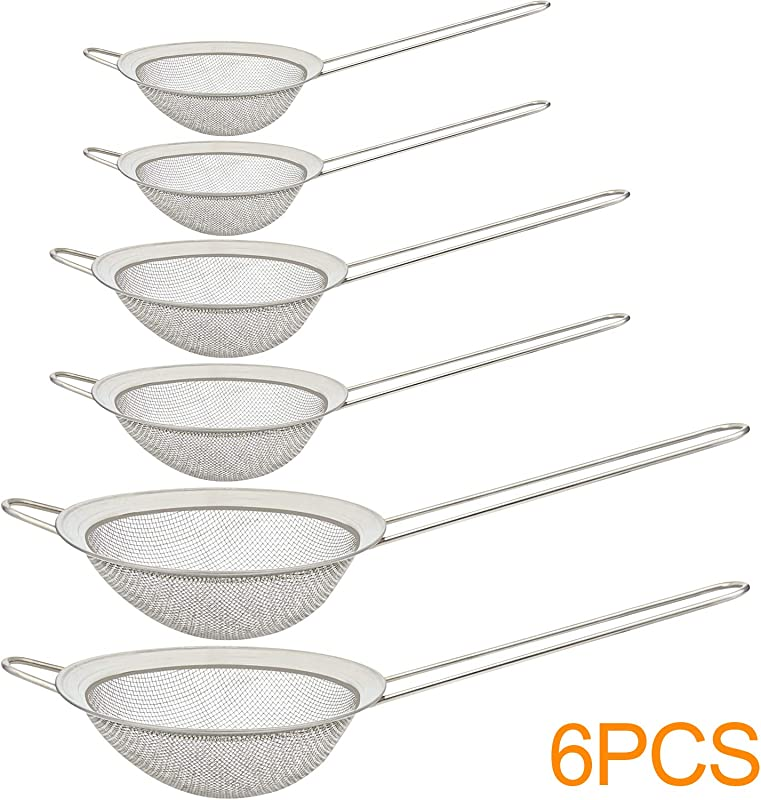 1 6PCS Fine Mesh Stainless Steel Strainers Colander Sieve Sifters 3 Size 4 3 3 2 1 With Long Handle For Kitchen Supply