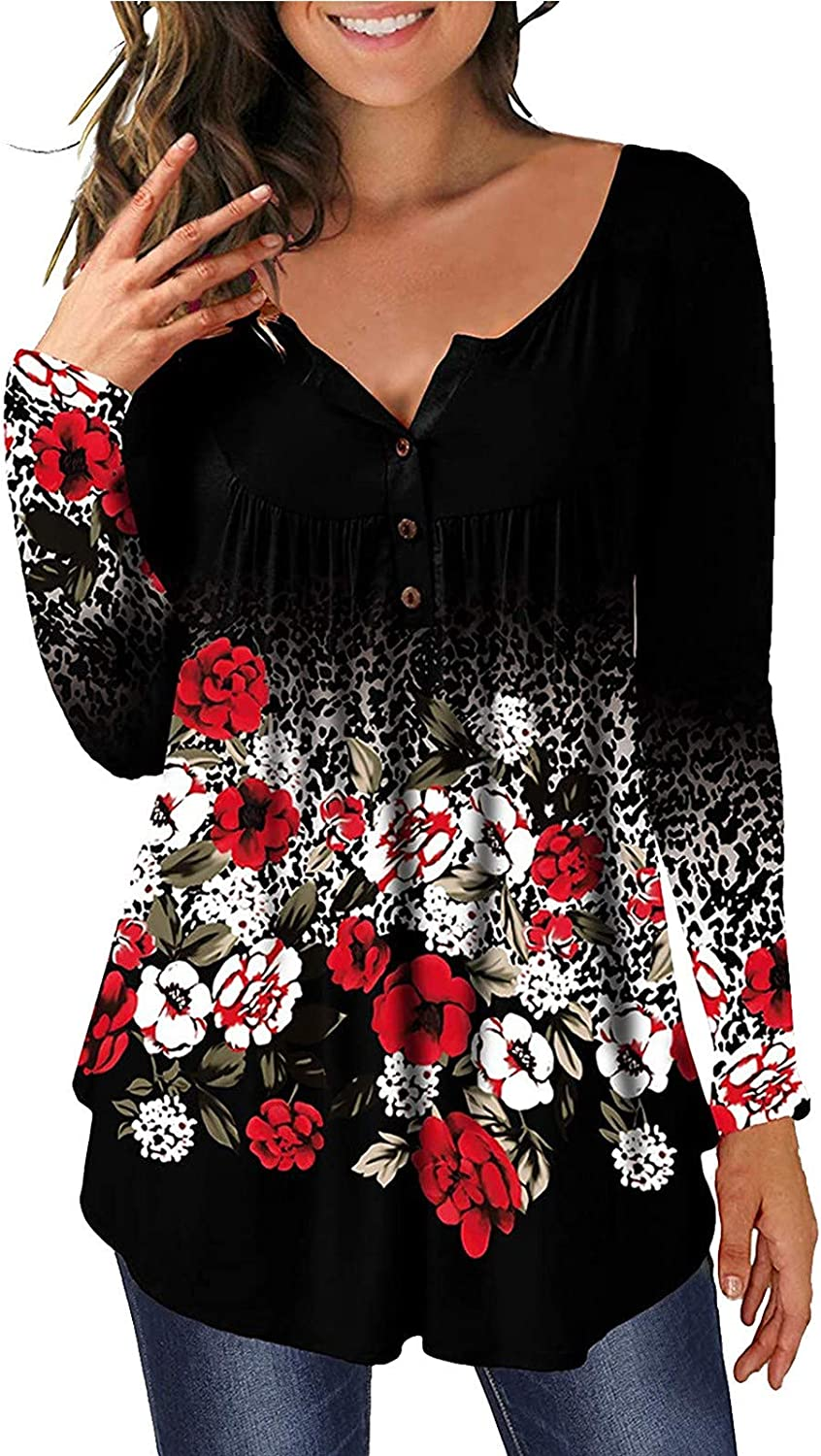 FABIURT Women Long Sleeve Tops, Womens Floral Printed V Neck Long Sleeve Tee Shirts Casual Loose Pullover Tunic Blouses