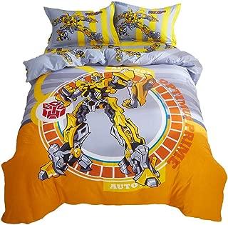 Air 100% Cotton Duvet Cover Set Cartoon Transformers Bumblebee for Boys Kids Bedding Including 1 Duvet Cover + 1 Flat Sheet + 2 Pillowcase /4 Piece (C, Twin(173X230)