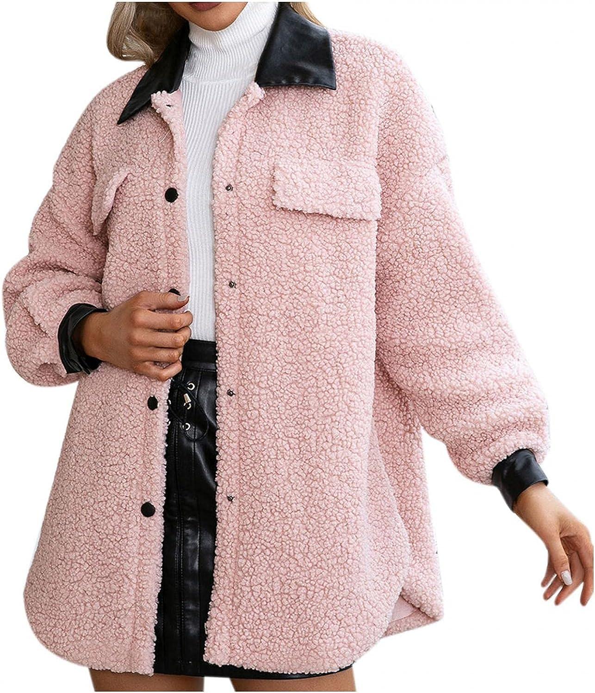 HUOJING Faux Fleece Coats for Women Patchwork Plush Jacket Pocket Long Sleeve Button Down Outwear Warm Tops