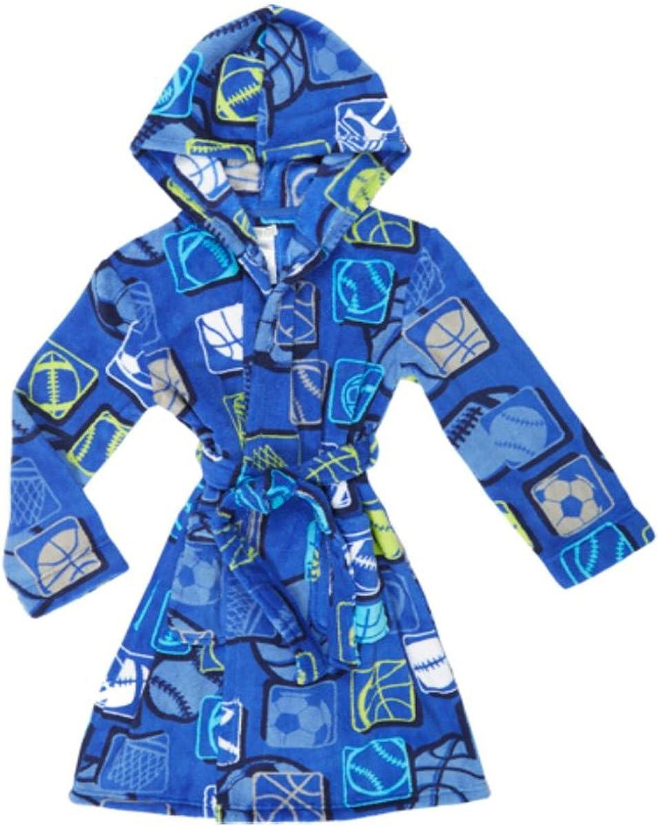 Sale SALE% sold out OFF Komar Kids Little Boy's Sports Theme Plush Blu XS Bathrobe Royal