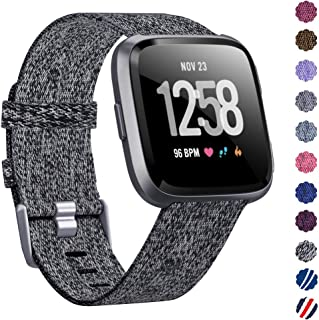 KIMILAR Woven Band Compatible with Fitbit Versa/Fitbit Versa 2/Fitbit Versa Lite Edition, Women Men Large Small Woven Fabric Breathable Accessories Strap Compatible Versa Smart Watch