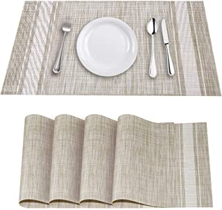 YOSICHY Table Mats Set of 4 Crossweave Woven Vinyl Placemats Heat Resistant Non-Slip Kitchen Placemats for Dining Table Washable Easy to Clean(White)