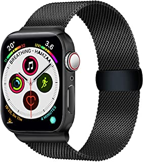 Smart Watch Bands Compatible with Series 5 4 3 2 1, Metal Strap for Apple Watch Band 42mm 44mm, Stainless Steel Mesh Sport Wristbands for Men Women, Black