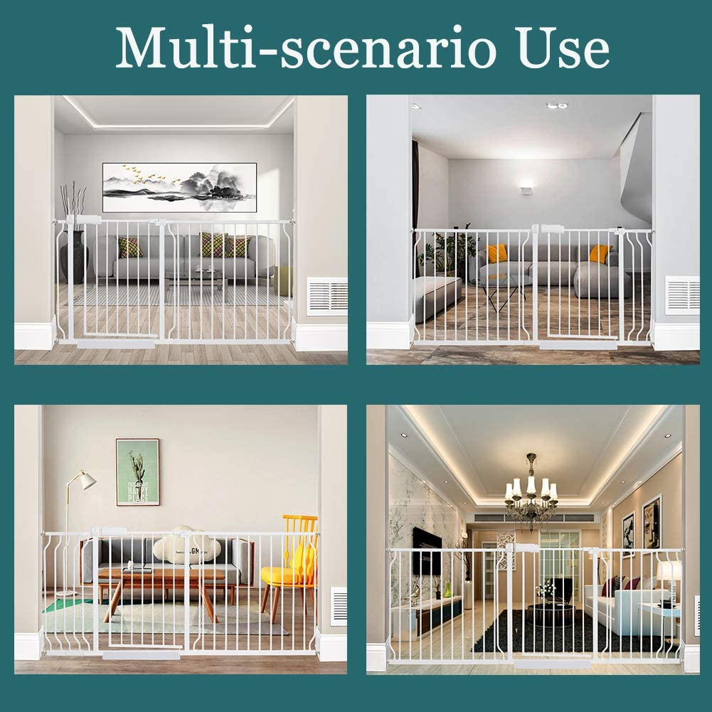 ALLAIBB Extra Wide Pressure Mount Baby Gate Auto Close White Metal Child Dog Pet Safety Gates with Walk Through for Stairs,Doorways,Kitchen and Living Room 57.5-81.1 57.48-62.20//146-158cm