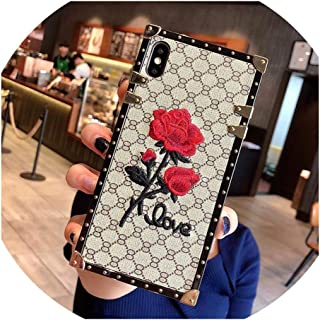 Phone Case for Samsung S10 Plus S10 Lite S8 S9 Note 9 8 Square Rose Embroidery Flower Cover for iPhone Xs Max X XR 6 6S 7 8 Plus,for Samsung S10,White no Lanyard