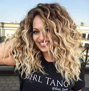 BeiSD Black Ombre Blonde Wig Afro Kinky Curly Synthetic Wigs For Black Women Synthetic African Fluffy Hair High Temperature Hair