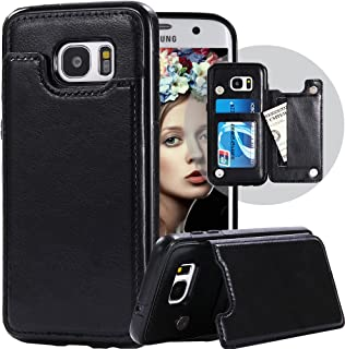 Galaxy S7 Edge Wallet Case,Galaxy S7 Edge Case with Card Holder,Auker Shockproof Vintage Sleek Leather Flip Magnetic Folding Stand Purse Wallet Case for Women/Men for Samsung Galaxy S7Edge (Black)