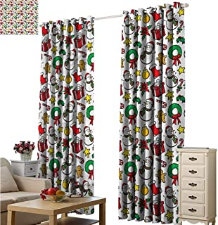 Fakgod Blackout Curtains Christmas Wreath Candy Cane Snowman Blackout Draperies for Bedroom W84x84L