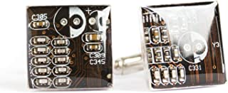 Black/dark brown Circuit Board Cufflinks, recycled gift for computer geek