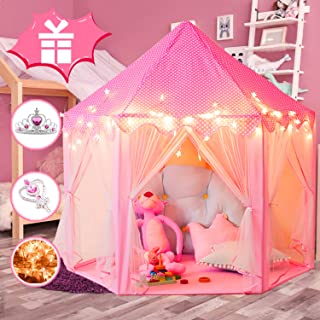 """WOOD CITY Princess Castle Play Tents for Girls, Kids Playhouse Indoor & Outdoor with 16.5 Feet Star Lights, Bonus Princess Tiara and Wand, Large Size 55"""" x 53"""" Toy, 2+ Years Old Girl Gifts"""