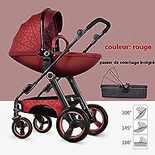 L&WB Sillas de Paseo Cochecito de bebé 3 en 1 para cáscara de Huevo de Alta Capacidad para Sentarse y acostarse Sillón de Dos vías para niños pequeños con Combo de Cuna para bebés cochecitos 0-3 años