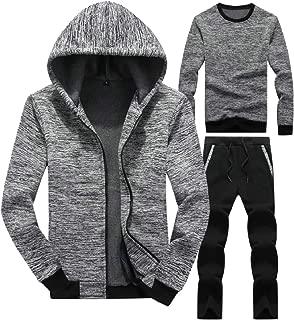 Sodossny-AU Men's Jogger Pants Sport Running Sweatshirts 3-Piece Sets Jackets Tracksuits