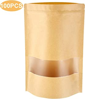 Stand Up Pouch Bags, 100 Pack Kraft Pouch with Tear Notch and Matte Window, Resealable Zip Lock Food Storage Bag (5.5IN X 7.9IN)