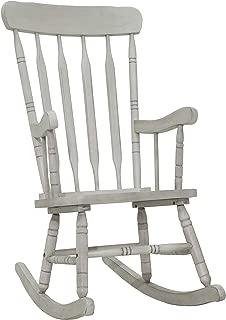 HOMCOM Rubberwood Indoor/Outdoor Porch Slat Rocking Chair - Antique White