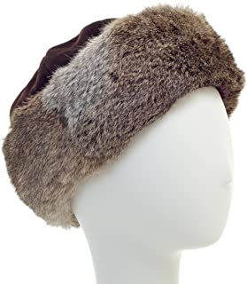 Long Hair Rabbit Cuff with Suede Crown Russian Trapper Hat - Bridal Wedding Attire Brown